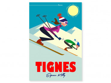 Tableau Illustration Ski à Tignes