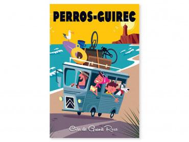 Tableau Illustration Road Trip à Perros Guirec