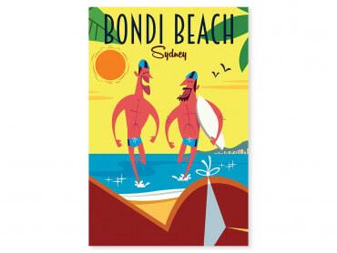 Tableau Illustration Surf à Bondi Beach