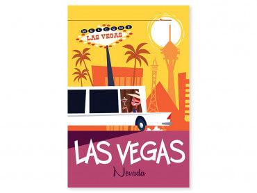 Tableau Illustration Road Trip à Vegas