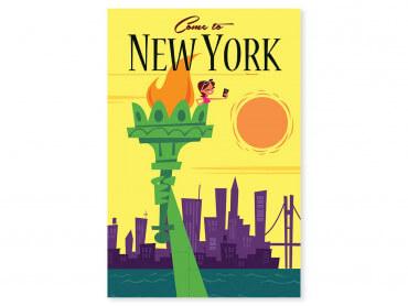Tableau Illustration Voyage à New York