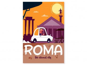 Tableau Illustration Voyage à Rome