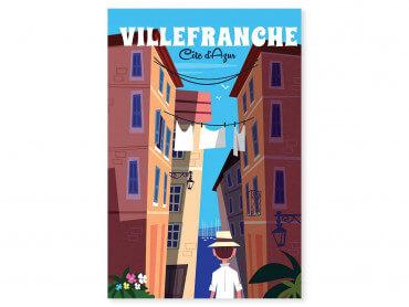 Tableau Illustration Voyage à Villefranche Sur Mer