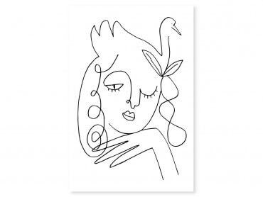 Tableau Dessin line art la femme au clin d'oeil