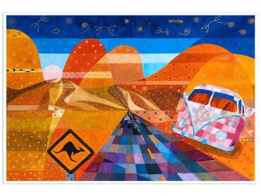 Poster coloré Road trip sur les traces des Kangourous
