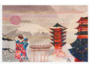 Affiche colorée Japon et traditions