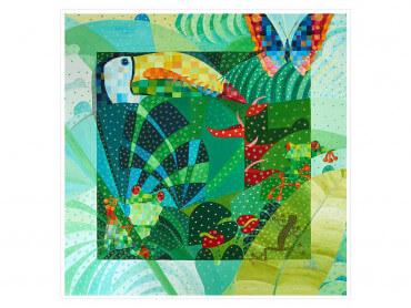Illustration colorée Cameleon dans sa jungle - Affiche