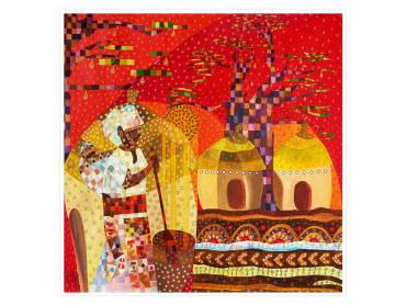 Sénégal coloré Baobab rouge et d'or - Affiche