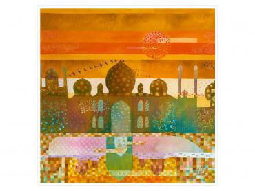 Affiche colorée Sunset sur le Taj Mahal