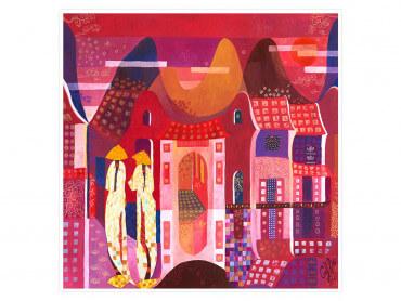 Illustration colorée Pink Vietnam- Affiche