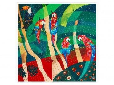 Illustration colorée Perroquet rouge - Affiche