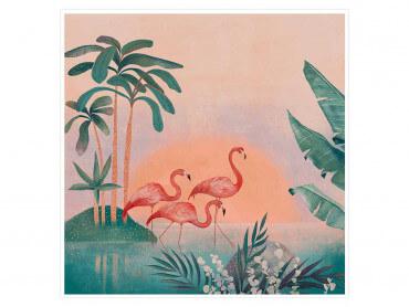 Affiche déco Sunset Flamingo