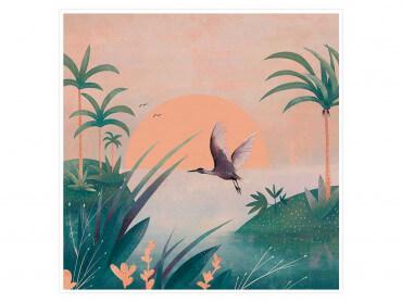 Illustration Envol au coucher du soleil - Affiche
