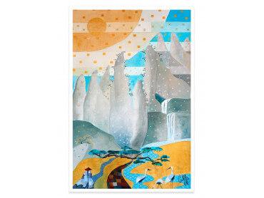 Poster coloré Pitons matching blue
