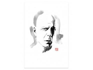 Affiche déco Bruce Willis portrait au crayon