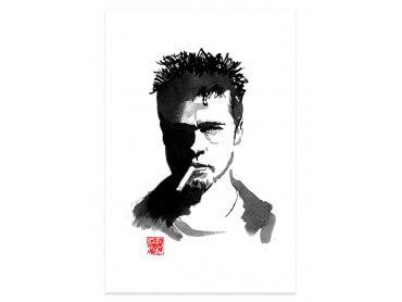 Affiche célébrité Brad Pitt au crayon
