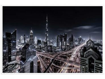 Affiche Paysage Dubaï - Itinéraire de nuit