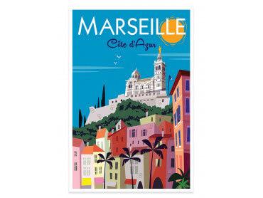Affiche Illustration Vintage Marseille