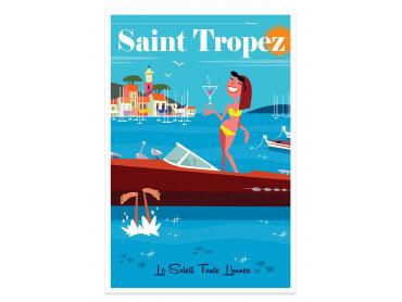 Affiche Illustration Vacances à St Tropez