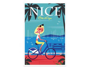 Affiche Illustration Vacances sur la Baie des Anges