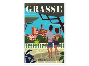 Affiche Illustration Voyage à Grasse