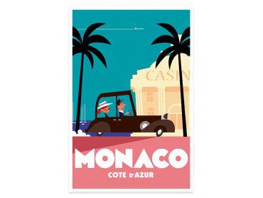 Affiche Illustration Voyage à Monaco
