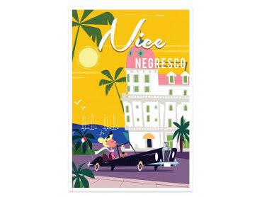 Affiche Illustration Vacances à Nice