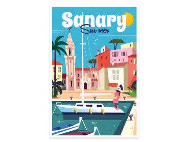 Affiche Illustration Vacances à Sanary