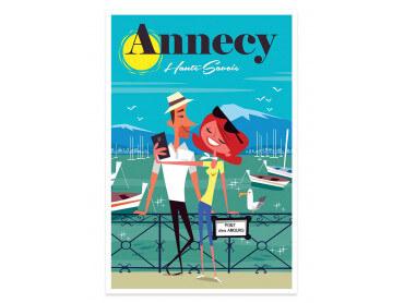 Affiche Illustration Le pont des amours Annecy