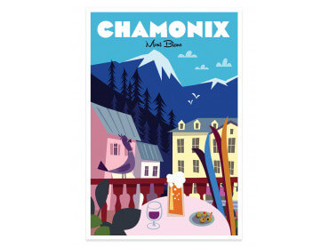 Affiche Illustration Chamonix Mont Blanc
