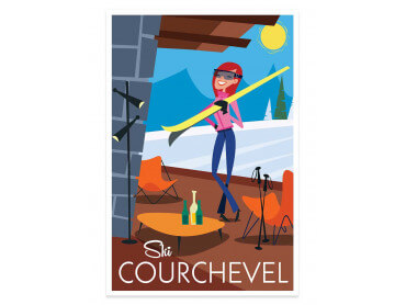 Affiche Illustration Ski à Courchevel