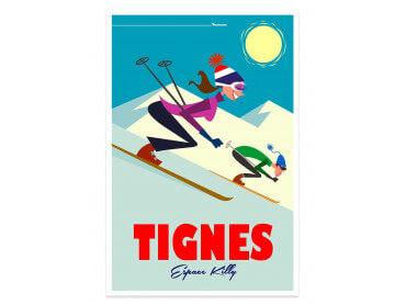 Affiche Illustration Ski à Tignes