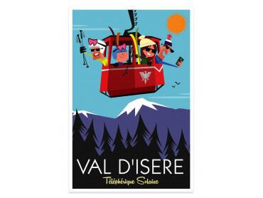 Affiche Illustration Ski à Val D'Isère