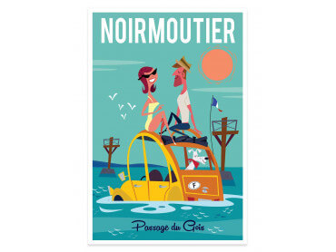 Affiche Illustration Road Trip à Noirmoutier