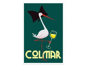 Affiche Illustration Cigogne de Colmar