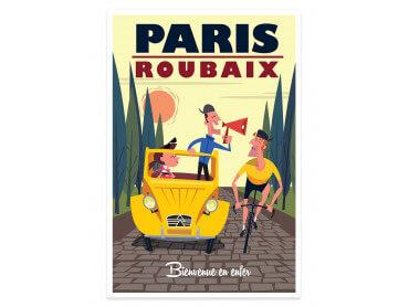 Affiche Illustration Course Paris - Roubaix