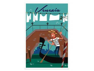 Affiche Illustration Gondole à Venise