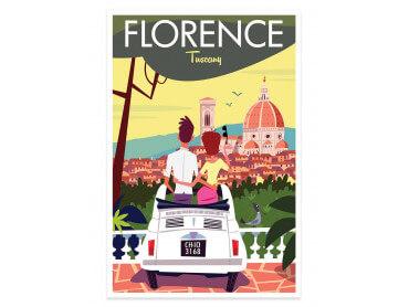 Affiche Illustration Voyage à florence