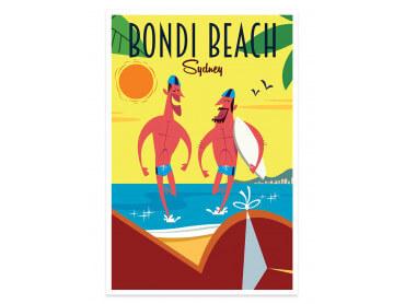 Affiche Illustration Surf à Bondi Beach