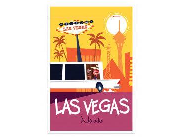 Affiche Illustration Road Trip à Vegas