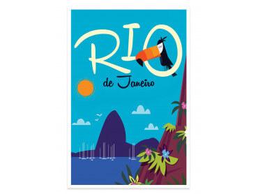 Affiche Illustration Toucan à Rio De Janeiro