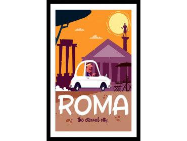 Affiche Illustration Voyage à Rome