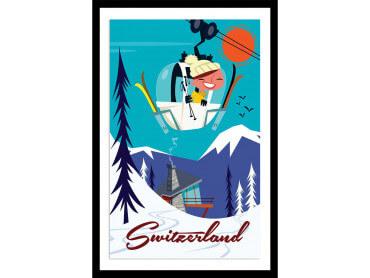 Affiche Illustration Voyage en Suisse