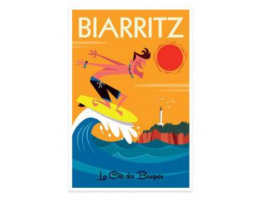 Affiche Illustration Surf à Biarritz