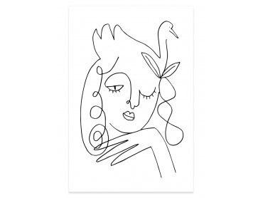 Affiche Line art la femme au clin d'oeil