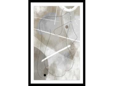 Affiche Déco Beige abstrait et soft line n°1