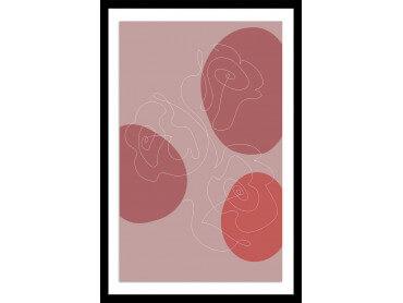 Affiche Déco Line art et courbe rose