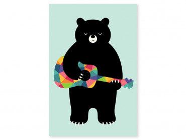Tableau enfant rock and roll bear