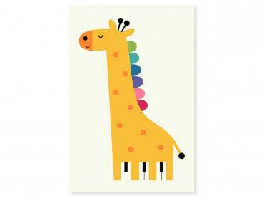 Tableau enfant girafe colorée