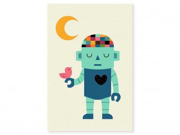 Tableau enfant coeur de robot